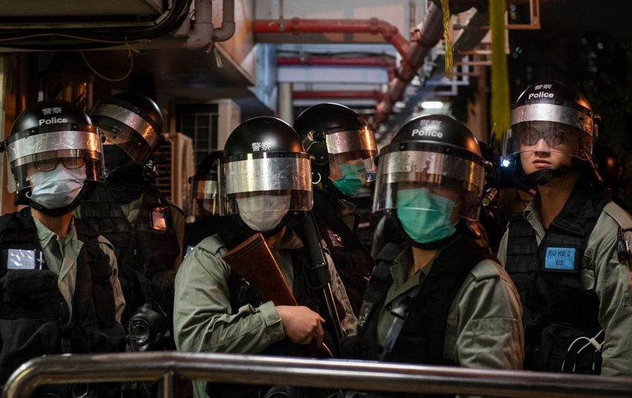 Police officers gathered in Hong Kong during coronavirus pandemic