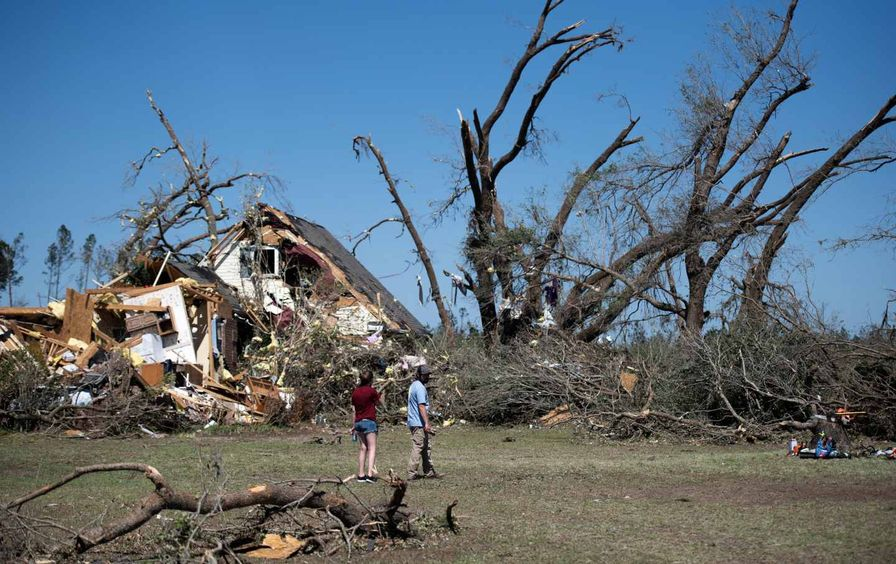 People looking at a destroyed home with trees