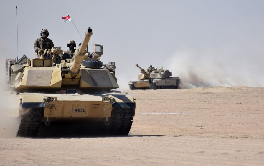 Armored vehicle in the desert