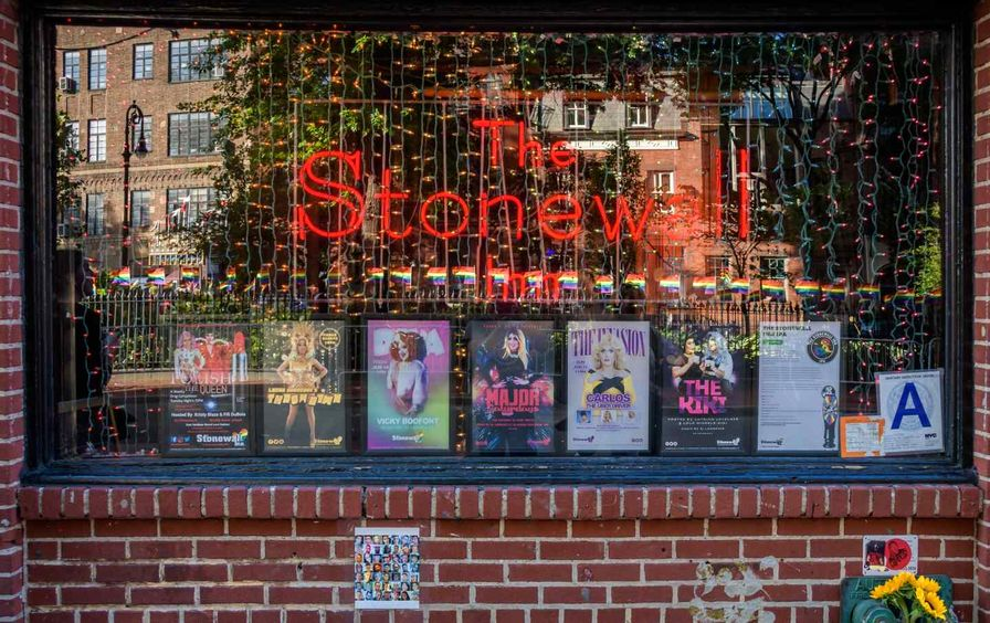 The front window of The Stonewall Inn
