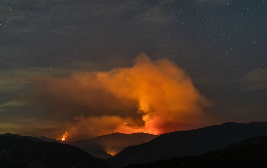 Wildfire rising in forest north of Los Angeles.