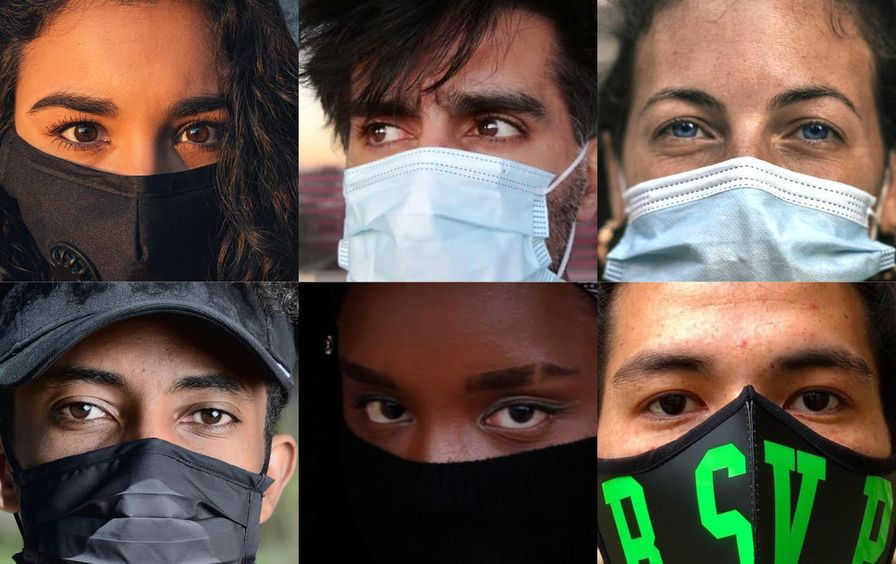 Six faces wearing masks