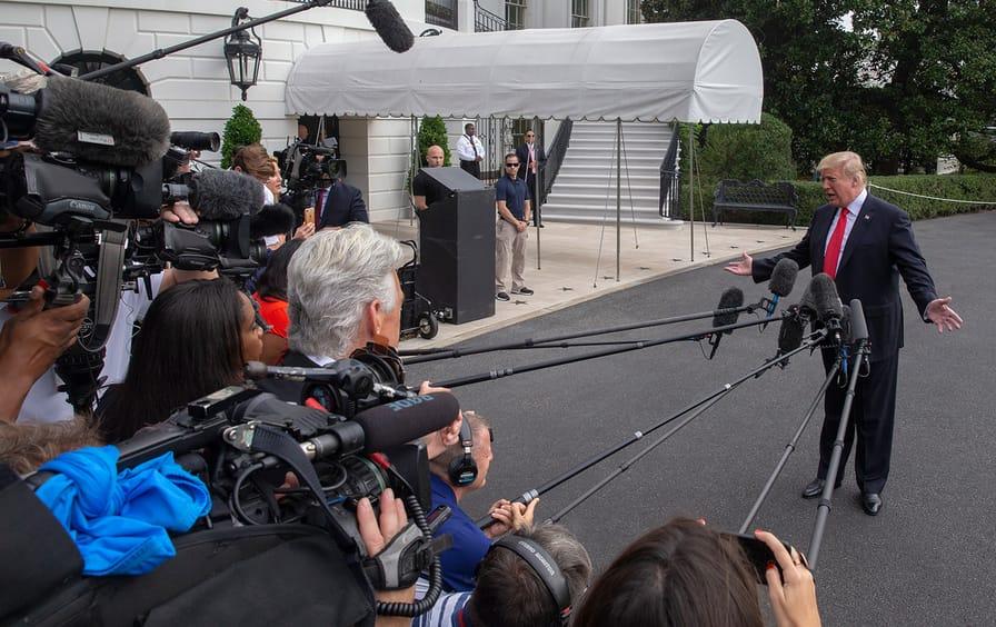 media scrum Trump