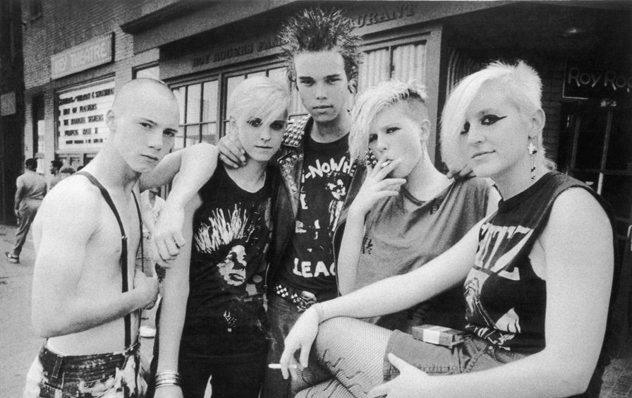Punk Teenagers Pose Before Roy Rogers