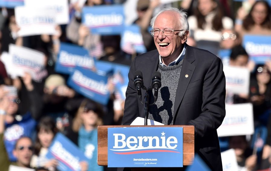 Bernis Sanders at a rally in Queens, NY