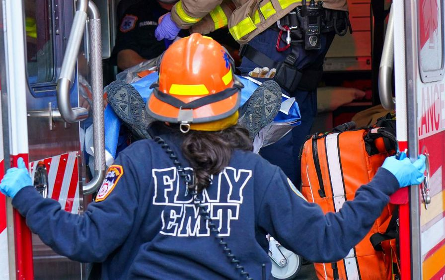 Construction workers FDNY ambulance