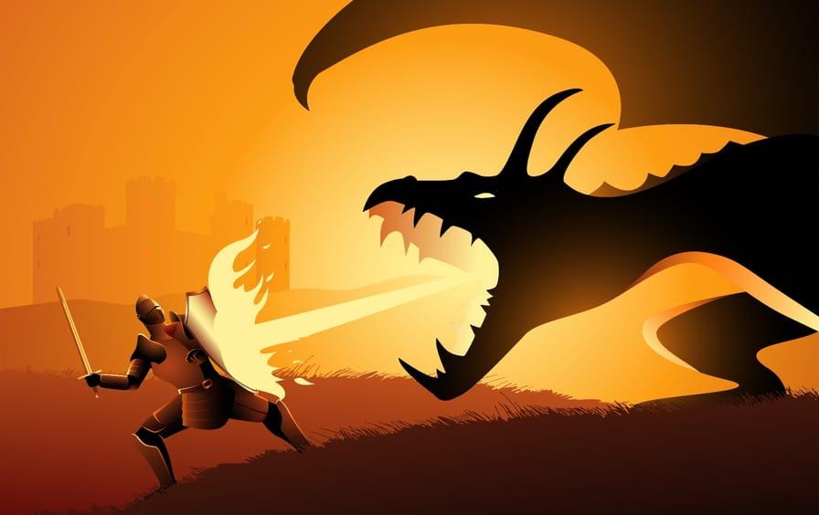 Dragon fire-blasting a knight