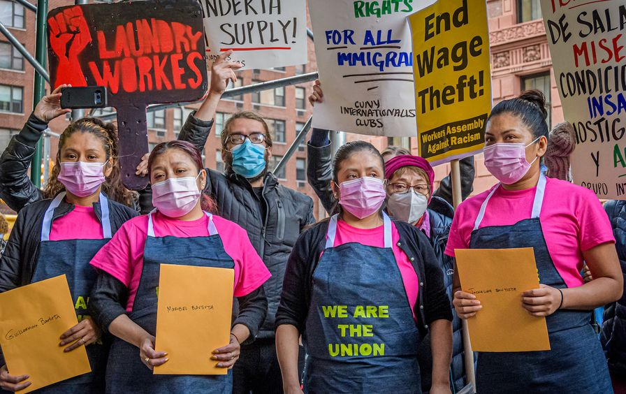 Laundromat workers walk out on the job