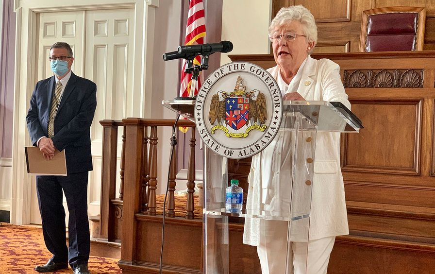 Gov. Kay Ivey at a press conference