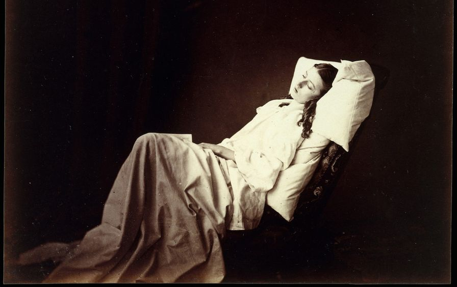 She Never Told Her Love', 1857, Albumen silver print from glass negative, 18 x 232cm (7 1/16 x 9 1/8in), Photographs, Henry Peach Robinson (British, Ludlow, Shropshire 1830-1901 Tunbridge Wells, Kent), Consumed by the passion of unrequited love, a young w