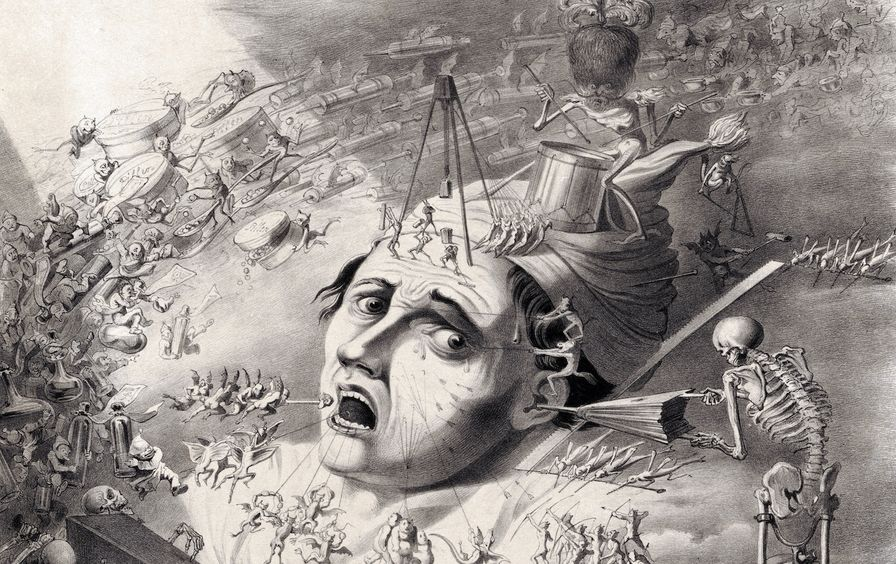 Fantastical creatures inflicting pain upon the head of a man.