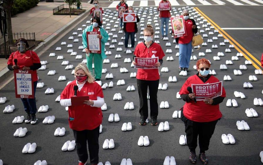 Nurses hold a memorial in Washington DC.