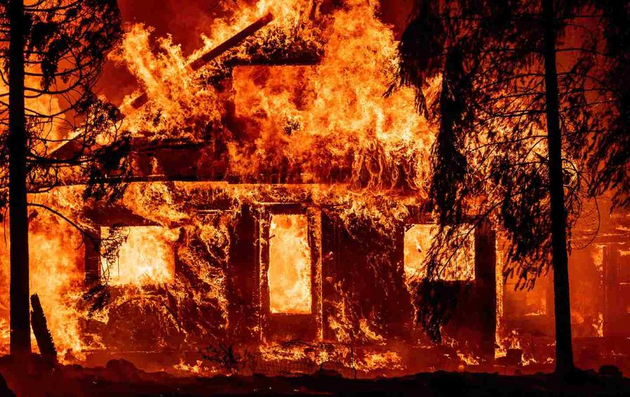 House burning in Dixie fire