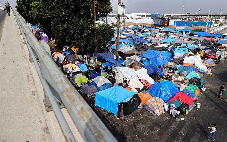 Tents of asylum-seekers at the Southern border of the US