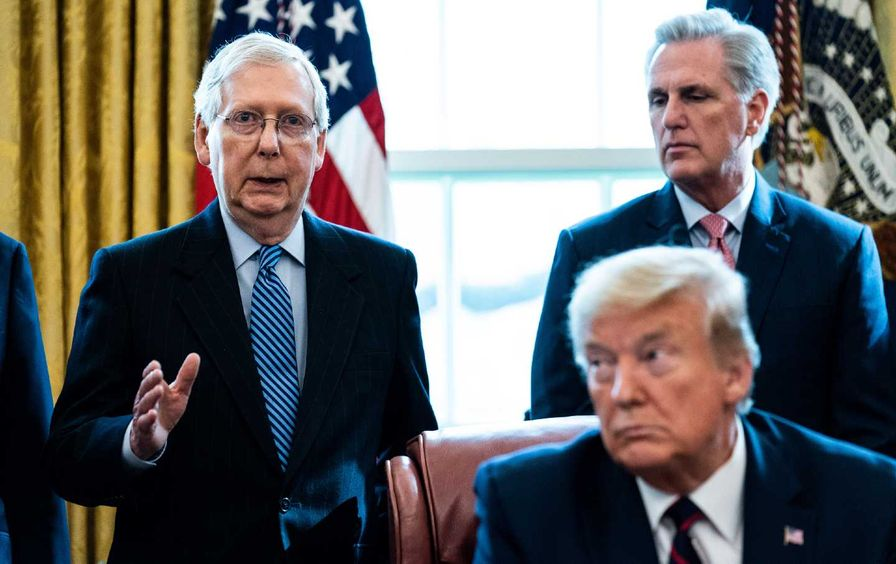 Mitch McConnell, Kevin McCarthy, and Donald Trump