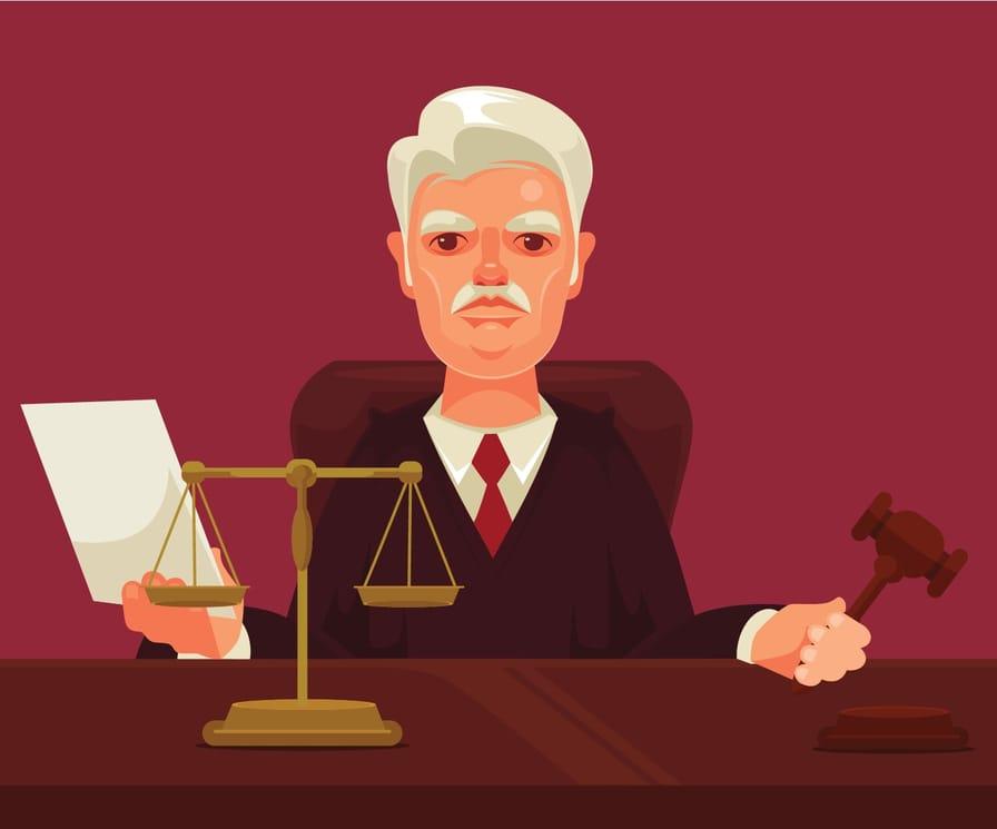 Mustachioed judge illustration