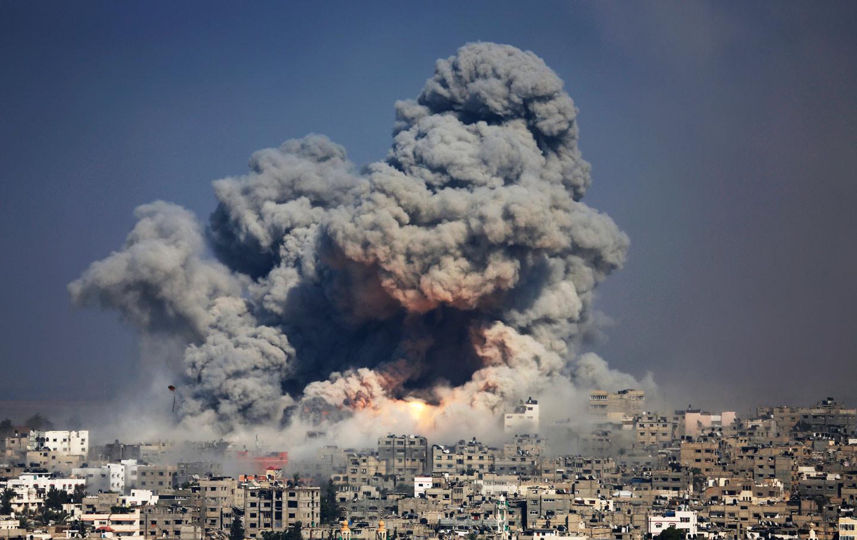 An Israeli strike over Gaza City