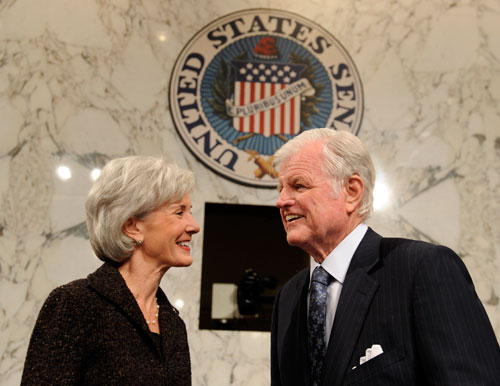 HHS Secretary nominee Kathleen Sebelius and liberal lion Sen. Ted Kennedy (pictured) represent progressives' best hope for getting healthcare reform legislation through Congress this year. David U. Himmelstein and Steffie Woolhandler suggest that legislators should be wary of the Massachusetts model when forming a national plan. [AP Images]