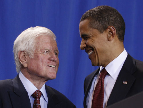 """On August 25, 2009, Kennedy succumbed to complications from his brain tumor at the age of 77. Sadly, he did not live to see his dream that """"every American--north, south, east, west, young, old--will have decent quality healthcare as a fundamental right and not a privledge,"""" realized. Yet President Obama and the Democrat-controlled Congress can view Kennedy's passing as a call to action, a crucial moment for Obama's presidency and the future of healthcare reform.[AP Images]"""
