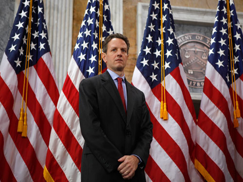 Treasury Secretary Timothy Geithner was condescending, vague and infuriating as he lectured Americans on the troubled financial system last week, feeding a suspicion that he's still working for the other side, William Greider writes here. (AP Images)
