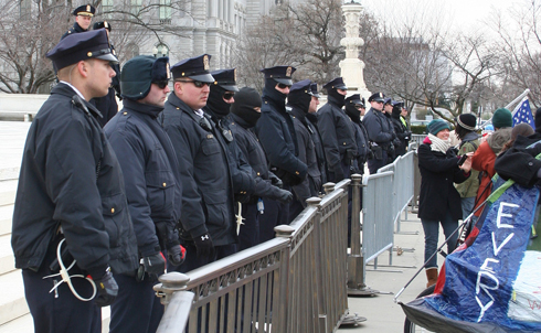 After the arrests, police restored the metal barricades blocking access to the plaza.  Click here for all of The Nation's coverage of the evolving Occupy movement.  Image credit: Loren Fogel
