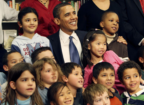 """During the 2008 election campaign, Obama didn't speak out much on education besides promising to fully fund """"No Child Left Behind"""" and to increase aid to students trying to pay for college. In 2010, Obama will need to put some meat on the bones of his policy.[AP Images]"""