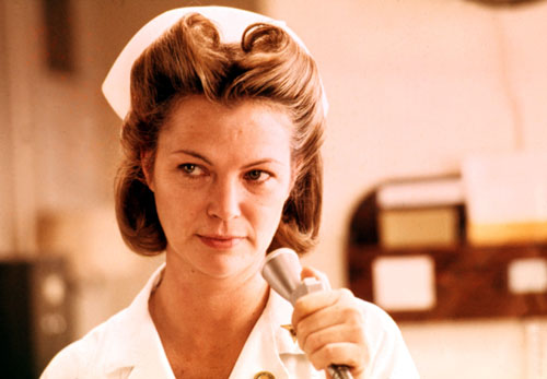 "After four previous nominations, Jack Nicholson finally takes home an Oscar for his indelible performance as Randle P. McMurphy, who tangles with Louise Fletcher's diabolical Nurse Ratched in the film version of Ken Kesey's novel. While Robert Hatch believes Nicholson deserves the Oscar, he calls the film ""less than satisfactory."" (Photo: Everett Collection)"