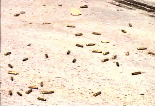 "Shell casings of bullets allegedly fired by Blackwater forces at Nisour Square. ""They were shooting in all directions,"" Mohammed remembers.  He describes the shooting as ""random, yet still concentrated. It was concentrated and focused on what they aimed at and still random as they shot in all directions."""