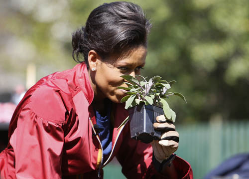 Michelle Obama's White House vegetable garden sends a clear message to Americans to abandon their junk food past and embrace a healthier, more delicious future. (AP Images)