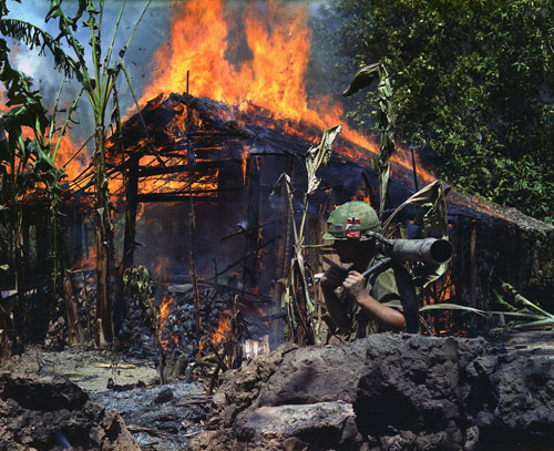 My Tho, a Viet Cong base camp. The war comes home via graphic television broadcasts to on the nightly news, feeding fierce antiwar sentiments. The callous brutality of US soldiers in Vietnam will haunt the nation for years to come.[Everett Collection]