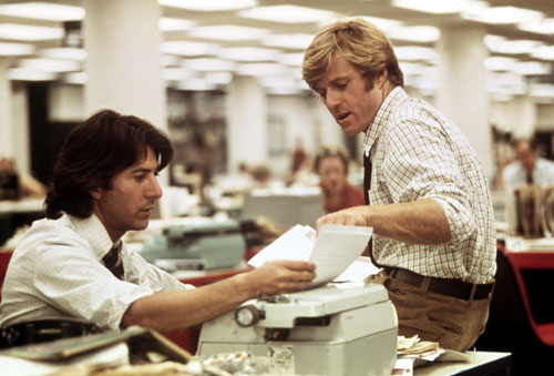 "Robert Redford and Dustin Hoffman  play the roles of real-life Washington Post reporters Bob Woodward and Carl Bernstein in this adaptation of their book on the Watergate break-in. The Nation dismisses the film as ""a splendidly proficient production of a woefully deficient script.""(Photo: Everett Collection)"