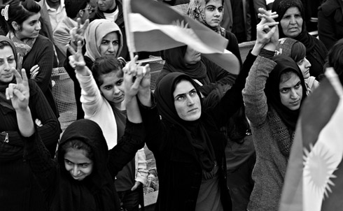 Female protesters in Sulaimaniya's Sara Square on March 25, 2011