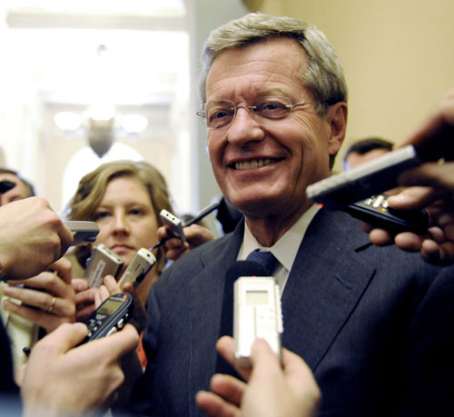 Arguably no single US senator slows down the reform process more than Montana Democrat Senate Finance Committee Chair Max Baucus. He holds up passage of the bill his committee by fruitlessly trying to court Republicans and repeatedly neutering or killing progressive healthcare reform proposals. [AP Images]