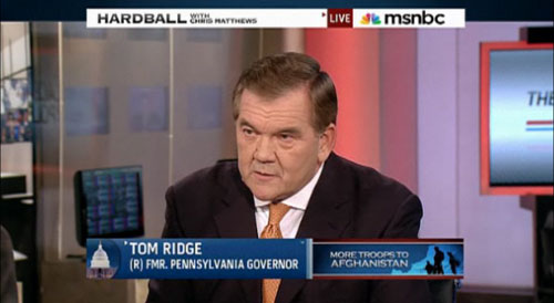 "On December 4, 2009 former PA governor and former Secretary of Homeland Security Tom Ridge was on NBC's Hardball with Chris Matthews, talking about Obama's recovery plan. Ridge advises creating nuclear power plants. But viewers were never told that, as Jones reports, ""since 2005, Ridge has pocketed $530,649 in executive compensation for serving on the board of Exelon, the nation's largest nuclear power company."""
