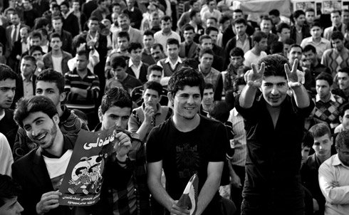 Protesters in Sulaimaniya's Sara Square on March 18, 2011