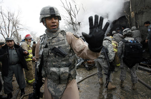 """""""There are some 36,000 US troops stretched across Afghanistan, another 17,500 under NATO command, and 18,000 in counterinsurgency and training roles. They are so aggressively combat-oriented that the Afghan government itself continually objects to the rate of civilian casualties. It costs the Pentagon $2 billion per month to support 30,000 American troops. According to [Ahmed] Rashid, 'Afghanistan is not going to be able to pay for its own army for many years to come--perhaps never.'""""--Tom Hayden Reuters Pictures"""