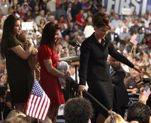 Almost as soon as Palin arrives on the national scene her personal family drama takes center stage as well. Most Americans quickly learn of her decision to give birth to a child with Down Syndrome but few expect the revelation that Palin's eldest teenage daughter Bristol was about to give birth herself. Due to the family's strict anti-abortion views Palin's daughter commits to not only having the child but marrying its high school-age father, which only leads to more controversy over the ensuing months. [AP Images]