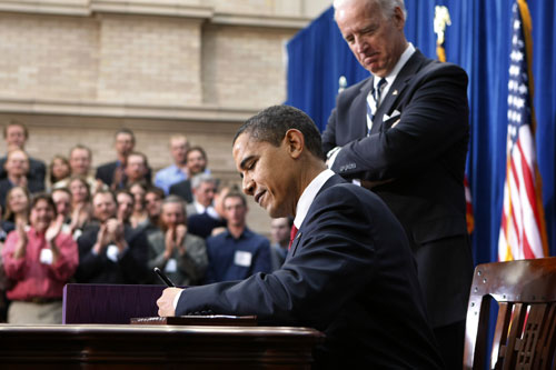 In February, Obama signs the largest domestic spending bill in generations. While progressives strongly believe the stimulus legislation is not as generous as it should be, they applaud the president's brisk action to kick-start the struggling economy.AP Images