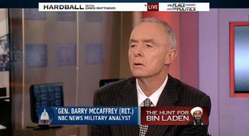 "Retired Lt. General Barry McCaffrey told viewers as the ""NBC Military Analyst""  on Hardball on Dec. 4, 2009, that the war in Afghanistan would take three to ten more years. Hardball host Chris Matthews never mentioned that DynCorp, which just received a five-year government contract--contingent on military needs--to aid American forces in Afghanistan, paid McCaffrey $182,309 in 2009."