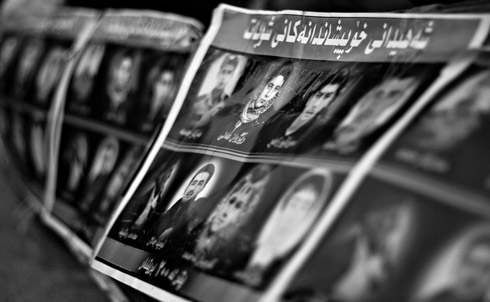 Posters in Sulaimaniya's Sara Square on March 20