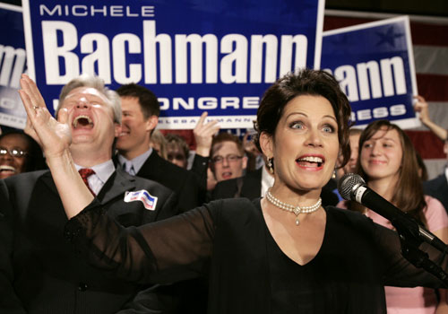 "One of the most vocal and eccentric of Washington's wingnuts has consistently been Minnesota Rep. Michele Bachmann. Prior to Obama's election, Bachmann, in a throwback to McCarthyism, calls for an investigation into what she calls ""anti-Americanism"" in Congress. Once Obama is in office, Bachmann manages to fearmonger on the census, ACORN, AmeriCorps, healthcare and more. AP Images"
