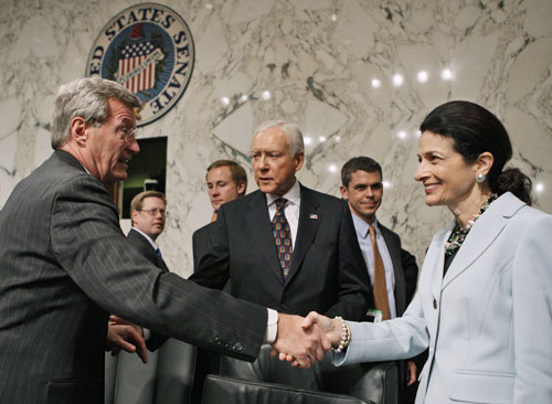 """The healthcare bill finally makes it out of the Finance Committee with significant fanfare drummed up by a single GOP vote in favor of the proposal from """"moderate"""" Maine Republican Olympia Snowe. However, Snowe makes it clear she is unlikely to support reform once it reaches a full Senate vote and goes out of her way to discredit the public option.[AP Images]"""