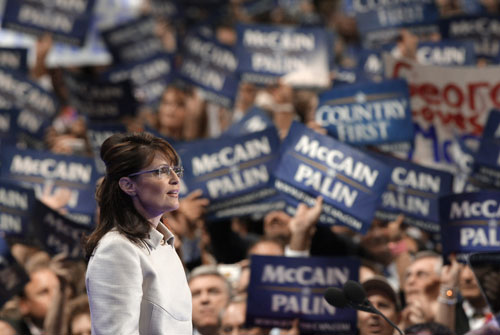In a harsh, confrontational speech aimed at both her critics and Democratic presidential nominee Barack Obama, Palin electrifies the crowd at the Republican National Convention in St. Paul, Minnesota on September 3, 2008. While she is undoubtedly an overnight political star, her defensive posture ends up raising more questions than it answers.[AP Images]