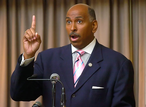 """Michael Steele's election as chairman of the RNC is supposed to herald a new era of conservative open-mindedness and outreach. Instead, John Nichols writes that, """"Steele has returned to the obsessive focus that made him a favorite of the party's neanderthal wing: picking on poor people, working families and the organizations that advocate for people who do not have closets full of pinstripe suits."""" AP Images"""