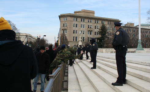 Marching on the Supreme Court for political reasons is a violation of federal law.  Image credit: Loren Fogel