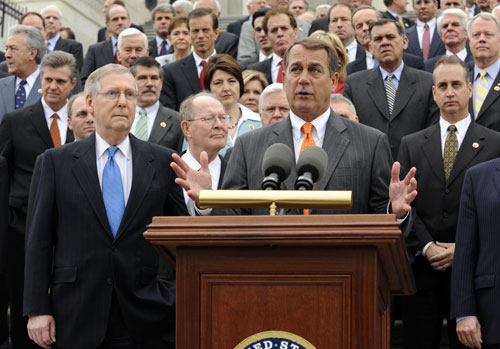 Republican Senate and House leaders Mitch McConnell (pictured center, left) and John Boehner (pictured center, right) have yet to produce a viable alternative to the Democrat's healthcare reform plan--but that hasn't stopped them from repeatedly trashing the process and vowing to oppose whatever bill their opponents produce.[AP Images]