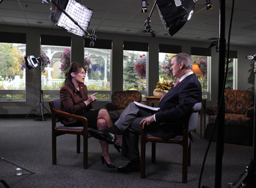 After much stalling, Palin finally begins sitting down for one-on-one televised interviews. Her first, with ABC's Charlie Gibson (pictured here) is shaky at best, but no one could have anticipated her deer-in-the-headlights performance opposite Katie Couric. In their now infamous exchanges Palin appeared clueless on the economy and foreign policy, further convincing American voters of her inability to fill the role of vice president.[AP Images]