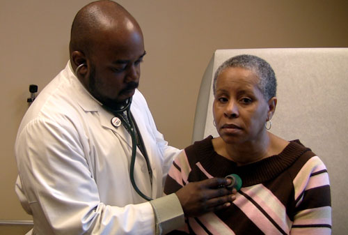 While fearmongers on the right campaign hard against Obama's plan, progressives must stay proactive by getting behind the most effective option--a single-payer plan to guarantee all Americans receive coverage. That way uninsured patients like Sharron Moore (pictured) whose only option now is a community health center, can receive uninterrupted care. [AP Images]