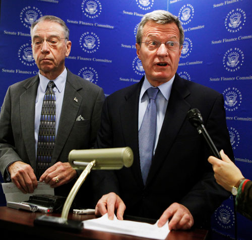 """Meanwhile in the Senate, the Finance Committee, led by Republican Chuck Grassley and conservative Democrat Max Baucus seems to go out of its way to neuter and delay healthcare reform. Besides refusing to back real reform, Grassley insists the legislation authorizes """"death panels,"""" a scurrilous claim that is easily debunked yet somehow gains traction.AP Images"""