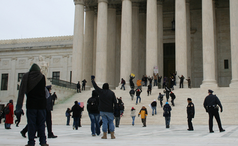 Protesters attempted to take the Supreme Court steps.